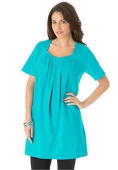 Roamans Women's Plus Size Pleat Neck Trapeze Max Tunic