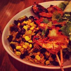 Day #303 - sticky Yucatan BBQ prawn skewers and black bean rice before the cinema