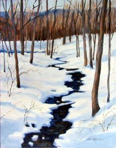 """Daily Paintworks - """"WINTER STREAM An Original Oil Painting  by Claire Beadon Carnell"""" - Original Fine Art for Sale - © Claire Beadon Carnell"""