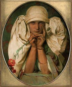 """""""Portrait of Mucha's Daughter, Jaroslava""""  (c.1927-1935) Alphonse Mucha"""