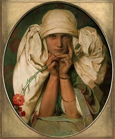 """Portrait of Mucha's Daughter, Jaroslava"" (c.1927-1935) Alphonse Mucha"