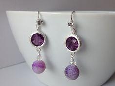 Purple Dangly Earrings  Frosted Purple Agate by LittleGemsByLuisa, $15.00