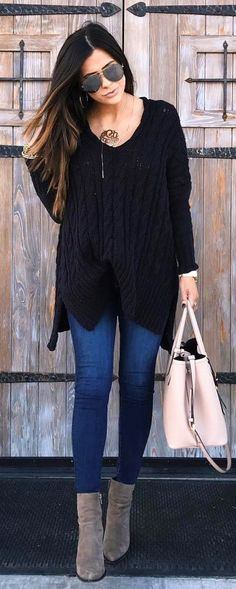 #winter #fashion / Black Knit / Navy Skinny Jeans / Grey Boots / Light Pink Leather Tote Bag