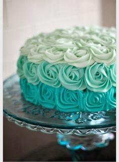 Yummy! Mint Green Rose Wedding Cake
