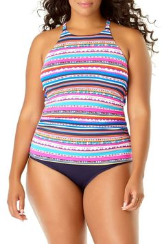 1ec6a83e0ef2d Anne Cole Plus Retrobraid Stripe High Neck Tankini Paint Stripes, Blue  Stripes, Striped One