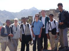 Hiking with Tim's team of bodyguards in the Haraz Mountains of Yemen