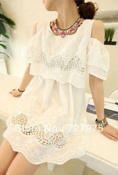 Hot Sales Summer 2013  Woman Cute And  Sweet Embroidery Cotton Skirt  Fashion Dress Shoulder Free Shipping  from Reliable Hot Sales woman Dress  $12.89
