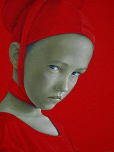 Salustiano Garcia Cruz, Spain - love the contrast of bright, almost flat color against soft detail of a face.