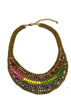 Maxicolar de ouro envelhecido e pedras coloridas - Lojinha de Luxo