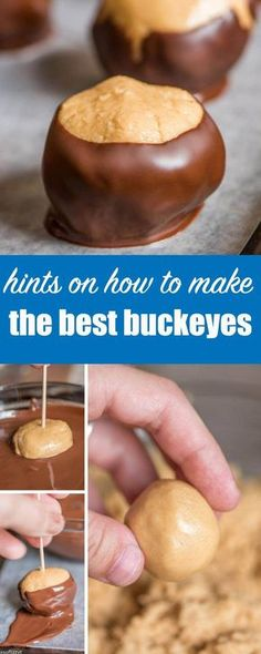 Hints on how to make buckeyes, the classic chocolate and peanut butter homemade candy that is perfect for football season and gift giving. How to Make Buckeyes {Hints and Tricks for Dipping Homemade Candy} #homemade #candy #buckeyes via @tastesoflizzyt
