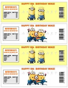DESPICABLE ME  Birthday Party Water Bottle Labels Personalized - Diy Printable - Wbl002 on Etsy, $5.00
