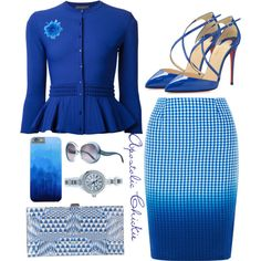 A fashion look from January 2016 featuring Alexander McQueen cardigans, Bailey 44 skirts and Christian Louboutin pumps. Browse and shop related looks. Church Fashion, Work Fashion, Skirt Fashion, Fashion Dresses, Fashion Looks, Trousers Fashion, Trouser Pants, Classy Outfits, Cute Outfits
