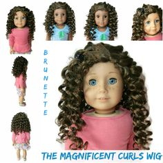 Our Magnificent Curls wig in Brunette. Can have a side or center part.