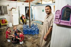The Abu Noqta family fled Syria in 2012 due to the ongoing conflict in the country, now residing in the Za'atari refugee camp. Abdulrahman, his wife Masamah, four-year-old Rahaf, eight-year-old Tasneem, 11-year-old Danya and five-year-old Mohammad use 380 liters of water per day.  According to UNICEF, about 56% of households in Za'atari use public water points as their main sources of drinking water.