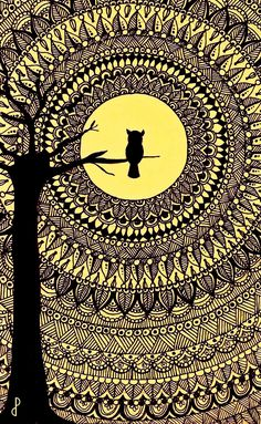 Mandala Art Lesson, Mandala Artwork, Mandala Painting, Mandala Drawing, Owl Artwork, Watercolor Mandala, Mandala Doodle, Madhubani Art, Madhubani Painting