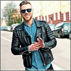 New Style Lambskin Black Leather Jacket Biker Motorcycle Jackets For Men Q 09…