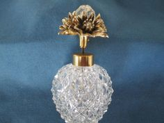 Vintage Cut Glass Perfume Bottle With Gold Ornate by BitofHope, $28.00
