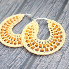 Crochet yellow orange hoop earrings with beads by faustapink900, £7.79