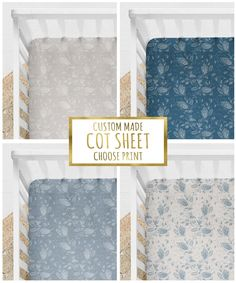 Custom Cot Sheet, Blue or Neutral Botanical Childrens Bedding, Choose Colour, CUSTOM Sizes Fitted Cot Sheet Fox Fabric, Cot Sheets, Childrens Beds, Surface Pattern Design, Organic Cotton, Neutral, Fabrics, Colour, Handmade Gifts