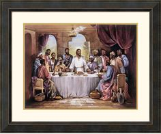 "0-006243>34x28"" Quintana The Last Supper Framed Print"