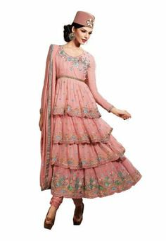Fabdeal Women's Indian Designer Wear Embroidered Anarkali Suit Salmon by Fabdeal, http://www.amazon.ca/dp/B00GAPWR0U/ref=cm_sw_r_pi_dp_IgPptb1JZDDDM
