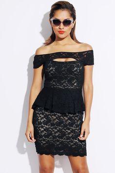 #1015store.com #fashion #style black lace off shoulder cut out peplum club pencil dress-$15.00
