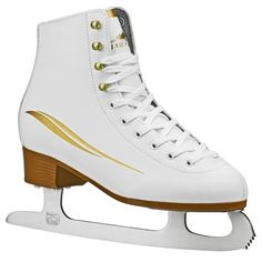 Lake Placid Cascade Women's Figure Ice Skate - White (Size 10), Gold White