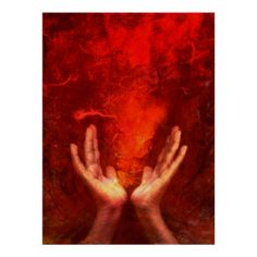 Healing hands with flaming red energy Reiki Print