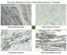 four granite countertop colors that look like carrara marble - like the casa blanca