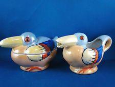 Vintage Duck Bird Lusterware Creamer & Sugar Bowl  ~ Made in Japan @3B