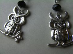 Owl Earrings Black Sparkle Glass Beads Antiqued by ArtisticSparkle, $15.00