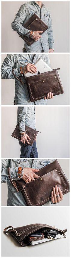 Handmade Leather Clutch iPad Case Envelope Bag Men's Handbag MBL20