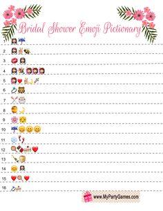 Bridal Shower Emoji Pictionary Game Printable