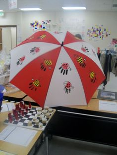Umbrella done by a first grade class. Student handprints were turned into ladybugs and bees.