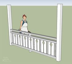 I want to add charm and character to my home. I found this tutorial on building flat sawn baluster railings. Looks super easy to do. Veranda Railing, Porch Railing Designs, Front Porch Railings, Deck Railings, Porch Over Garage, Front Yard Landscaping, Build Your Own, Landscape Design, Super Easy