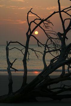 A beautiful sunset on an unspoilt beach. Bijagos Archipelago. Guinea Bissau