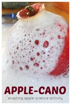 Make this super quick and easy erupting apple science experiment! Create an erupting apple science volcano using simple household ingredients. Volcano Activities, Fall Preschool Activities, Preschool Science, Science Experiments Kids, Science For Kids, Lesson Plans For Toddlers, Preschool Lesson Plans, Apple Unit, Baking Soda