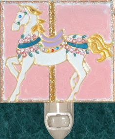 Pink Carousel Horse Night Light. Stained glass nightlight hand painted on textured art glass for carousel gifts and theme decor. Decorative creative artwork made by Pat Desmarais in the USA. $25.00