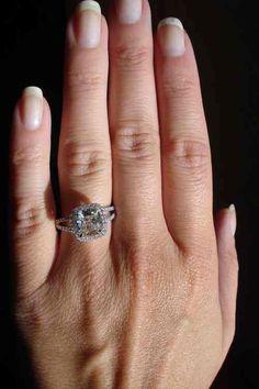 cushion cut split shank halo diamond engagment ring