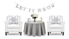 """""""Let It Snow"""" by cherieaustin ❤ liked on Polyvore featuring interior, interiors, interior design, home, home decor, interior decorating, Baxton Studio, Waterford, Nearly Natural and H&M"""