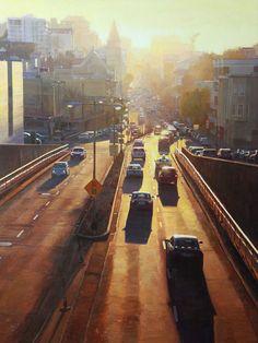 "Greg Gandy, ""Last Bit of Light on Broadway Street"" - 40x30, oil on panel--at Principle Gallery"