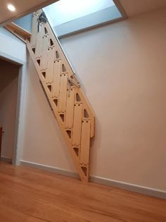 Garage Stairs, Stairs To Attic, Folding Attic Stairs, Tiny House Stairs, Loft Staircase, Staircase Storage, Ceiling Storage, Staircase Ideas, Staircases