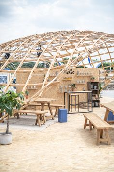 Adidas x Parley Wooden Architecture, Pavilion Architecture, Landscape Architecture Design, Bamboo Structure, Shade Structure, Butterfly Roof, Natural Structures, Wooden Buildings, Bamboo Design