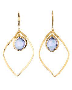 Stanley Korshak | Dana Kellin Blue Quartz and Gold Open Earrings