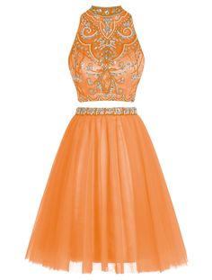 """Tideclothes Two-Piece Beads Homecoming Short Rhinestone Prom Dress Hollow Back Orange US8. Dress can be shipped out within 15 days. Please ignore the time set automatically by Amazon. To rush order, kindly inform us your important date. Two-piece style, stunning short dress, best choice for homecoming and prom. Romantic bodice with beadings and rhinestones. Sexy open back design. Layered tulle hem. Please do use the Size Chart Image on the left. Do not use Amazon's """"Size Chart"""" link. Free..."""