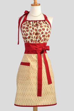 Cute Kitsch Retro Apron . Full Kitchen Womens by CreativeChics, $40.00