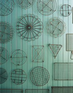 Baking cooling racks - beautiful as a collection. They would also be phenomenal used as planting frames for succulents.