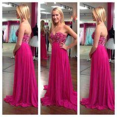 Long Hot Pink Bridesmaid Dresses