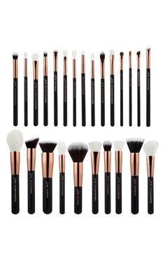 Showpo Makeup Brush Set in black and rose gold - 25 pc Tools & Brushes Best Oval Makeup Brush, Makeup Brush Dupes, Flawless Face Makeup, Lipstick Brush, Eye Makeup Brushes, Makeup Brush Set, Eyeshadow Makeup, Urban Decay Eyeshadow Singles, Bamboo Hair Products