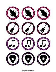 Use the circles for cupcakes, party favor tags, and… Music Theme Birthday, Rockstar Birthday, 5th Birthday Party Ideas, Music Party, Happy Birthday, Rock Star Theme, Rock Star Party, Guitar Cupcakes, Festa Rock Roll